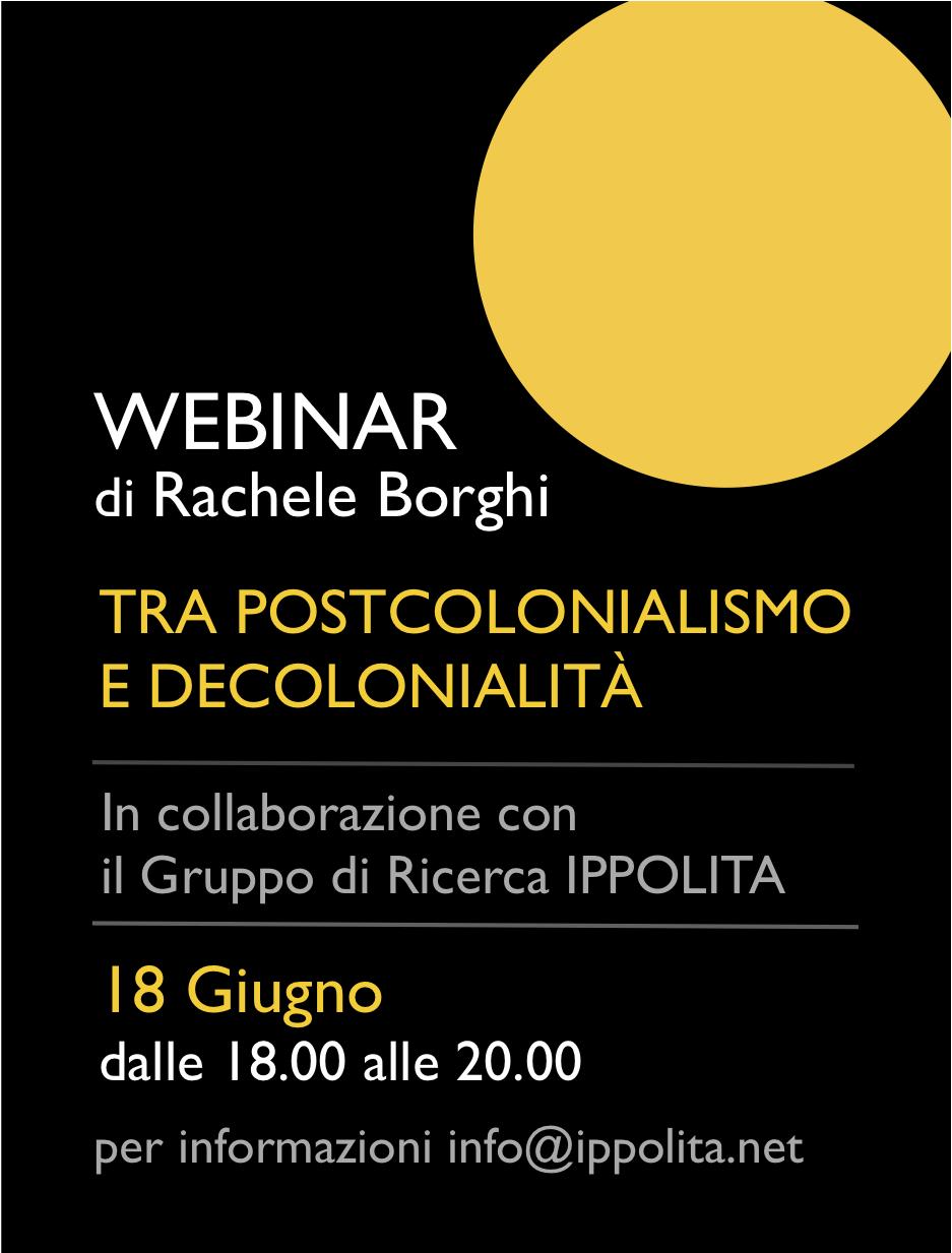 Tra Postcolonialismo e Decolonialità webinar di Borghi