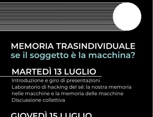 Webinar: Hacking del Sé e Memoria Transindividuale